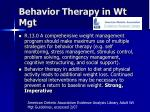 behavior therapy in wt mgt