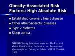 obesity associated risk factors high absolute risk