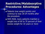 restrictive malabsorptive procedures advantages