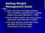 setting weight management goals