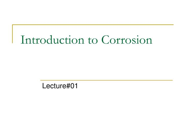 introduction to corrosion n.