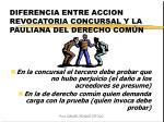 diferencia entre accion revocatoria concursal y la pauliana del derecho com n