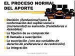 el proceso normal del aporte