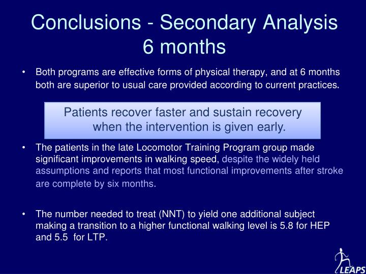 Conclusions - Secondary Analysis 6 months
