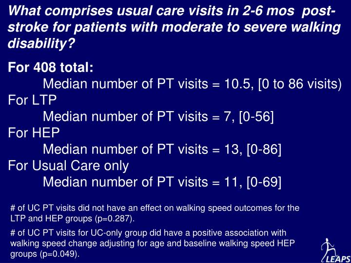 What comprises usual care visits in 2-6 mos  post-stroke for patients with moderate to severe walking disability?