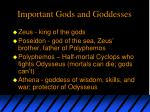 important gods and goddesses
