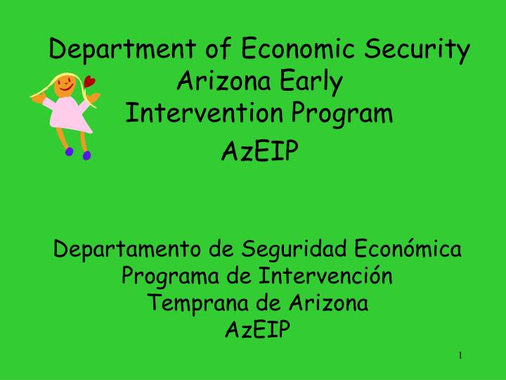 department of economic security arizona early intervention program azeip n.