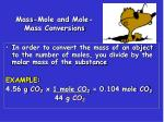 mass mole and mole mass conversions