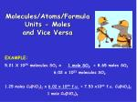 molecules atoms formula units moles and vice versa1