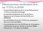 diferencias entre servidumbres de la ley 17 319 y la 24 076
