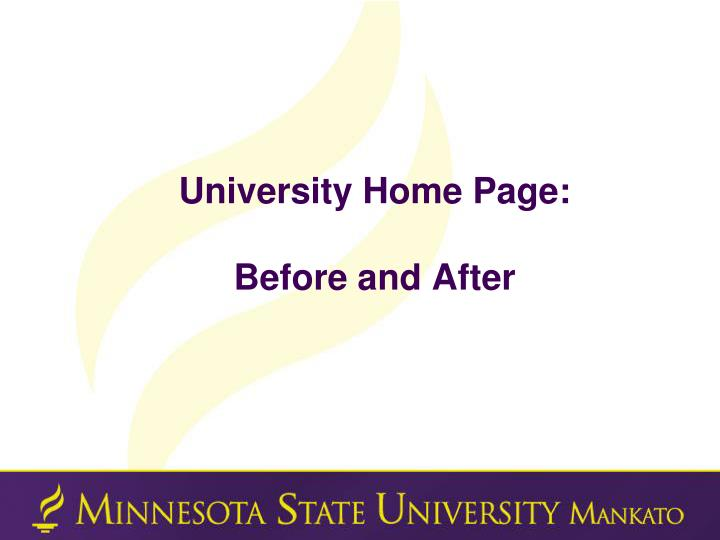 University home page before and after