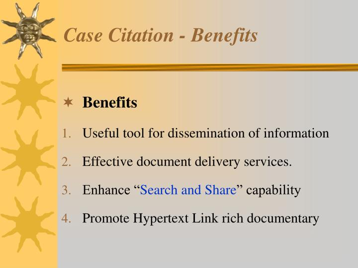 Case Citation - Benefits