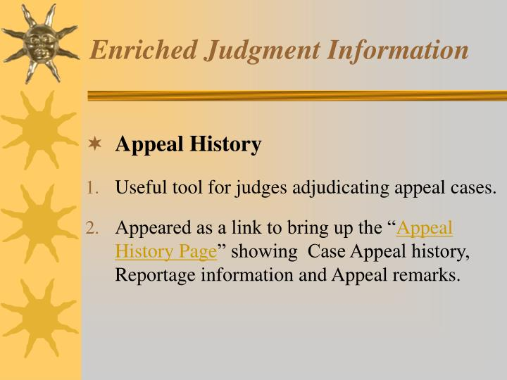 Enriched judgment information