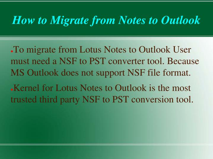 How to migrate from notes to outlook