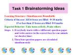 task 1 brainstorming ideas