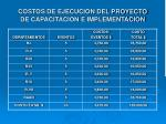 costos de ejecucion del proyecto de capacitacion e implementacion