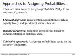 approaches to assigning probabilities