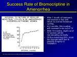 success rate of bromocriptine in amenorrhea