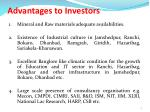 advantages to investors