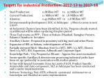 targets for industrial production 2012 13 to 2017 18