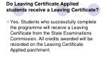 do leaving certificate applied students receive a leaving certificate