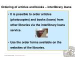 ordering of articles and books interlibrary loans