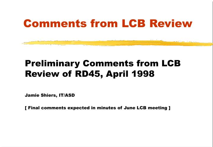 comments from lcb review n.