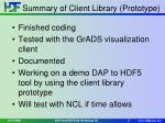 summary of client library prototype