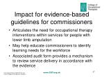 impact for evidence based guidelines for commissioners