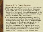 bernoulli s contribution