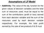 assumptions of lp model3