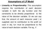 assumptions of lp model5