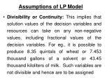 assumptions of lp model7