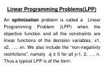 linear programming problems lpp