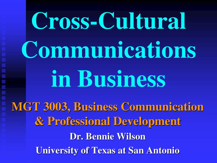 cross cultural communications in business n.