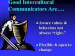 good intercultural communicators are