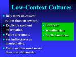 low context cultures