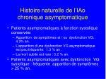 histoire naturelle de l iao chronique asymptomatique