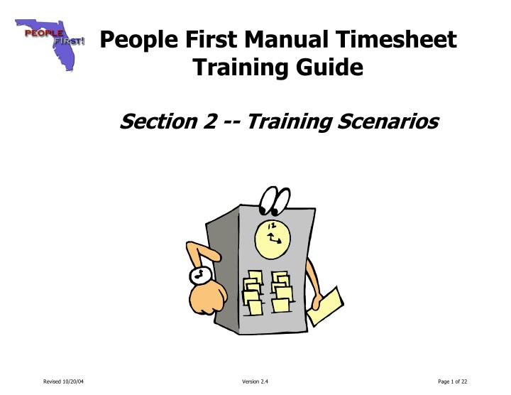 people first manual timesheet training guide section 2 training scenarios n.