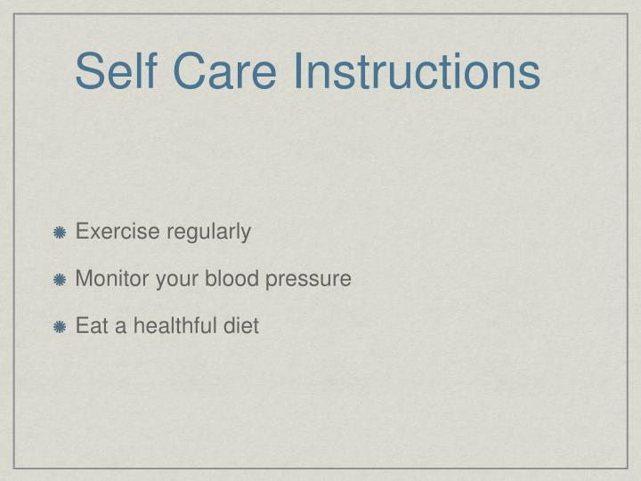 self care instructions n.