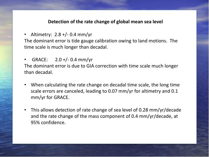 Detection of the rate change of global mean sea level