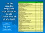 las 50 grandes empresas exportadoras desde costa rica en el a o 2002