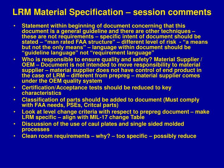 lrm material specification session comments