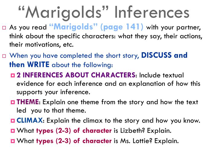 """""""Marigolds"""" Inferences"""