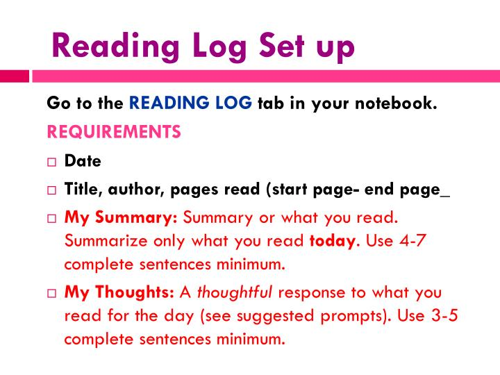Reading Log Set up