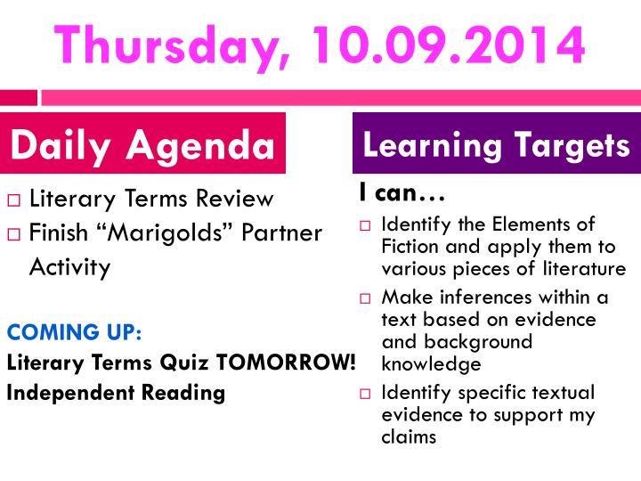 Thursday, 10.09.2014