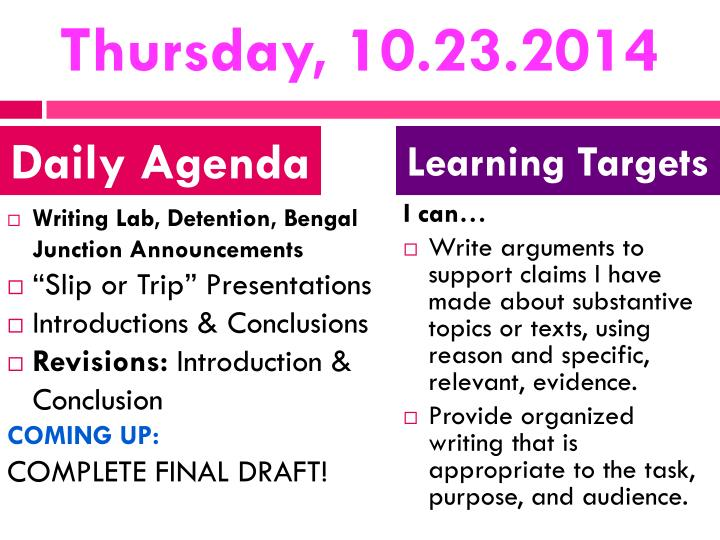 Thursday, 10.23.2014