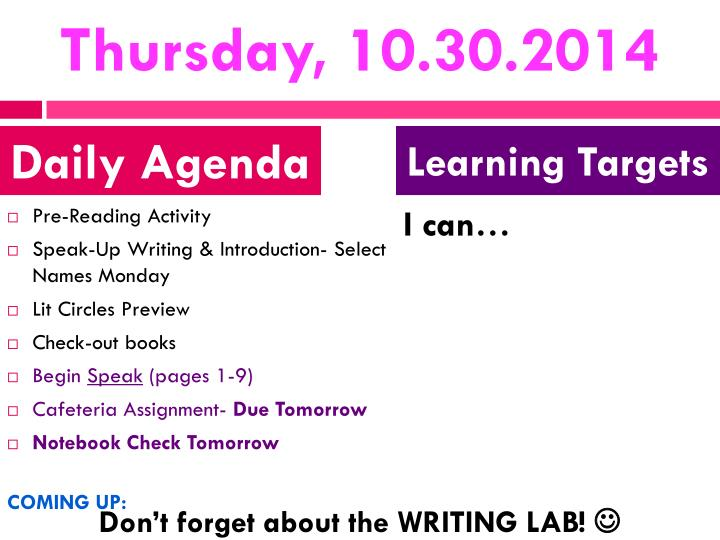 Thursday, 10.30.2014
