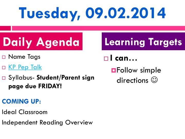 Tuesday 09 02 2014