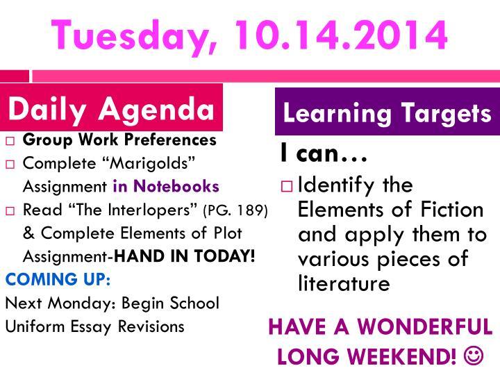 Tuesday, 10.14.2014